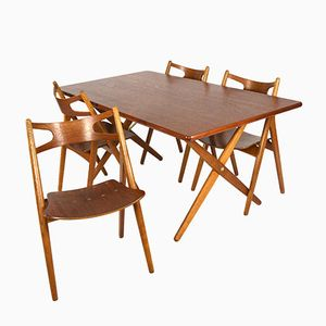 AT-303 Dining Set Table with Sawbuck Chairs by Hans J. Wegner, 1950s