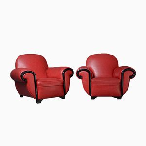 Art Deco Red Armchairs, Set of 2