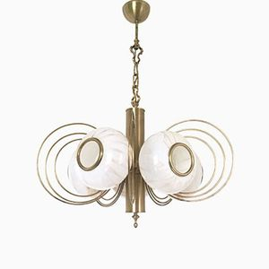 Italian Brass and Blown Glass Chandelier, 1970s