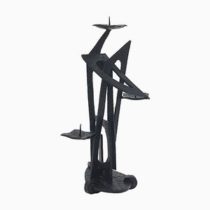 Abstract Metal Candle Holder, 1950s