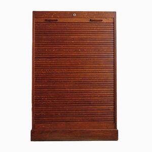 Vintage Oak Cabinet with a Rolling Door