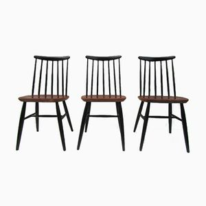 Scandinavian Spindle Back Chairs, 1950s, Set of 3