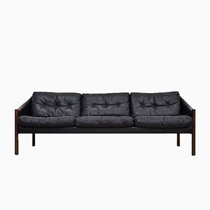 Rosewood and Supple Leather Sofa