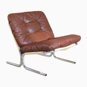 Danish Brown Leather Lounge Chair, 1970s
