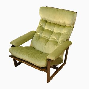 Dänischer Vintage Velours Sessel in Hellgrün