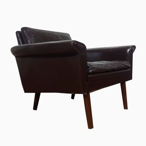 Mid-Century Danish Teak Brown Leather Armchair, 1960s