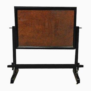 French Swiveling Wood & Glass Bulletin Board, 1960s