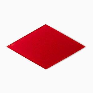 Piatto diamante Losanga in vetro di Murano rosso di Stories of Italy