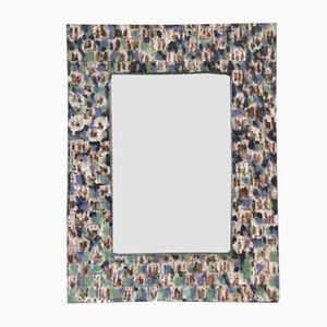 French Glazed Ceramic Mirror, 1963