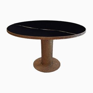 Vintage Round Brass and Black Glass Sculptural Table