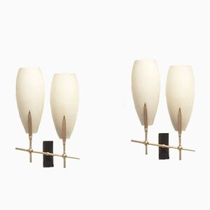 Mid-Century French Glass and Brass Wall Sconces, 1950s, Set of 2