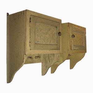 Vintage Hanging Cloakroom Cabinets, Set of 2