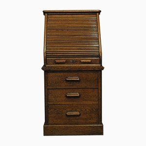 Edwardian Tambour Secretaire in Oak from Harris Lebus