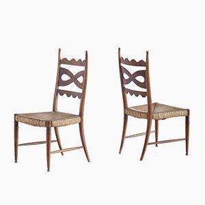 Stühle aus Nussholz mit Hoher Rückenlehne von Paolo Buffa, 1940er, 2er Set