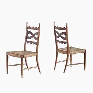 Walnut and Rush High-Back Chairs by Paolo Buffa, 1940s, Set of 2