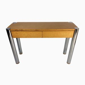 Burr Maple and Chrome Console Table, 1969