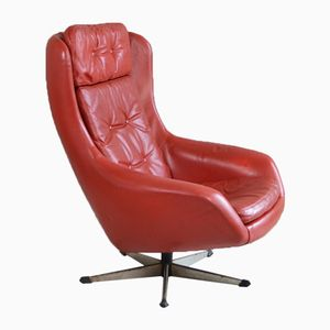Danish Red Leather Swivel Easy Chair, 1970s