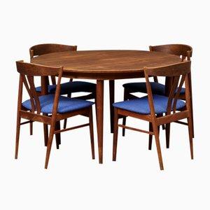 Set da pranzo Mid Century in teak con 4 sedie di Finn Juhl, Danimarca, anni '60