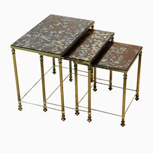 Vintage French Brass Nesting Tables with Flamed Glass