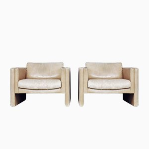 Leather Geometric Armchairs by Robert and Trix Haussmann for Walter Knoll, 1980s, Set of 2