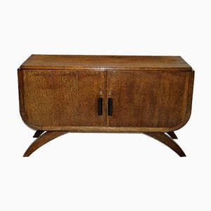 Small French Art Deco Oak Veneer Cabinet
