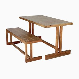 Scandinavian Mid-Century Pine Table and Bench, 1950s