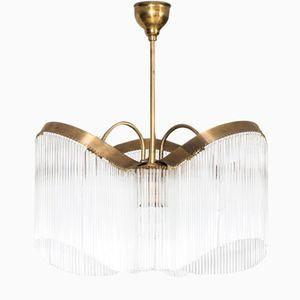 Art Deco Brass and Glass Fringing Ceiling Lamp, 1930s