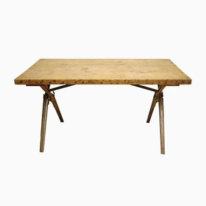 Industrial Oak Rifle Table, 1970s