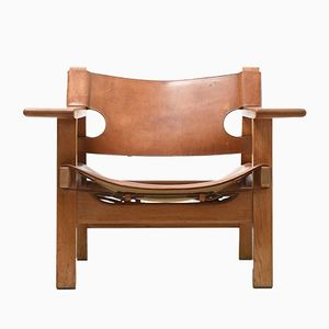 Leather & Oak Spanish Chair by Børge Mogensen for Fredericia, 1950s
