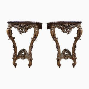 Antique Walnut & Marble Console Tables, Set of 2