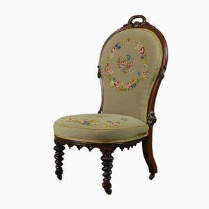 Victorian Rosewood Floral Needlework Nursing Chair