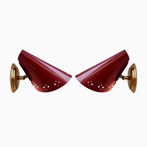 Rote Vintage Metall Wandlampen, 2er Set