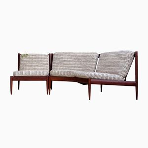 Mid-Century Scandinavian Curved Two-Seater Sofa & Lounge Chair