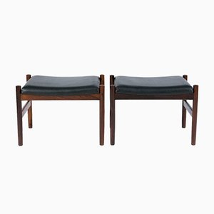 Danish Rosewood & Leather Stools, 1960s, Set of 2
