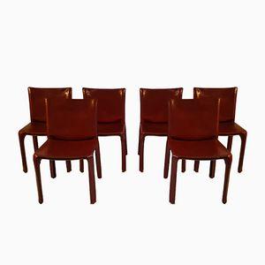 Rote Leder Cab Stühle von Mario Bellini für Cassina, 1970er, 6er Set