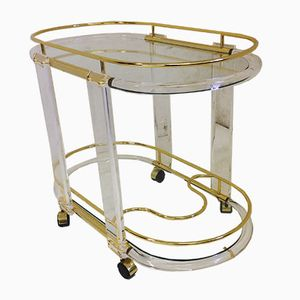 Lucite & Brass Drinks Trolley, 1960s