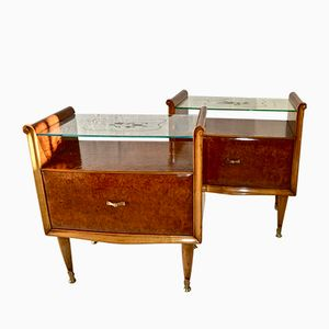 Italian Burr Maple and Walnut Bedside Cabinets, 1950s, Set of 2