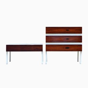 Mid-Century Rosewood Chest of Drawers and Nightstand from Lübke