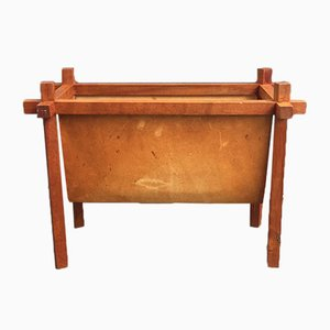 Danish Teak & Leather Magazine Rack from Skjode, 1950s