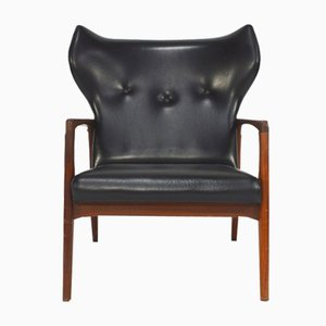 Mid-Century Scandinavian Wingback Lounge Chair, 1950s