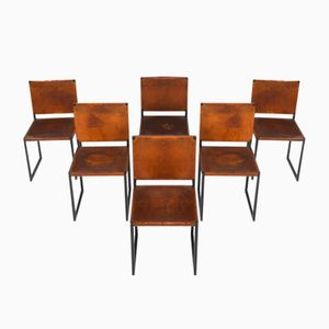 Mid-Century Cognac Saddle Leather Dining Chairs, 1950s, Set of 6
