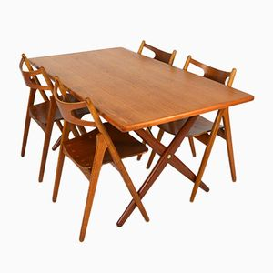 AT-303 Dining Set with Table & Sawbuck Chairs by Hans J. Wegner, 1950s