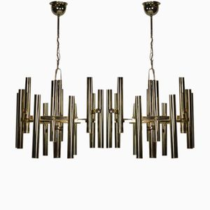 Mid-Century Italian Brass Ceiling Lights, Set of 2