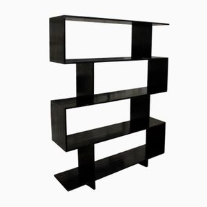 Italian Black Lacquered Oak Shelving Unit, 1970s