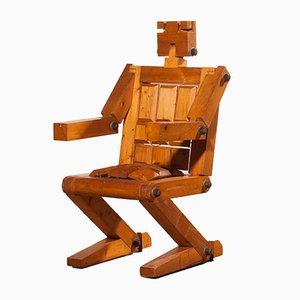 Roboter Kiefernholz Stuhl, 1970er