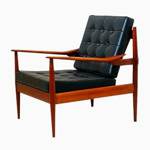 Danish Teak and Faux Leather Armchair, 1970s