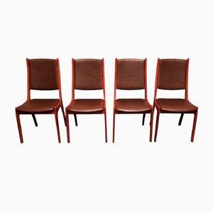 Chaises de Salon en Cuir et en Teck par Kai Kristiansen pour Korup Stolefabrik, Set de 4