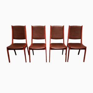 Danish Leather and Teak Dining Chairs by Kai Kristiansen for Korup Stolefabrik, Set of 4