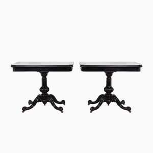 Antique Ebonised Card Tables, 1870s, Set of 2