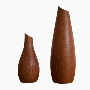 Finnish Mid-Century Teak Vases from Lindholm, 1960s, Set of 2